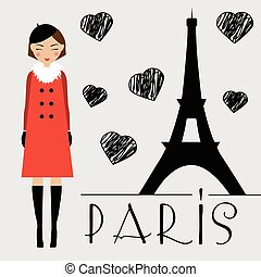 Cute kawaii girl and Eiffel tower silhouette vector illustration