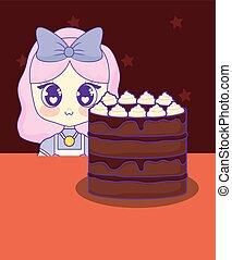 cute kawaii girl with cake birthday card