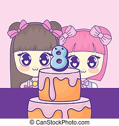 cute kawaii girls with cake birthday card