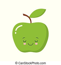 Cute Kawaii Green apple with leaf isolated on white background. Vector illustration.