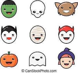 Cute Kawaii Halloween Icons Set. Funny Monster Faces.
