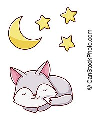 Cute kawaii hand drawn wolf and moon and stars doodles, isolated on white background