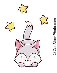 Cute kawaii hand drawn wolf and stars doodles, isolated on white background