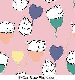 Cute kawaii kitterns and heart balooons in a seamless pattern design