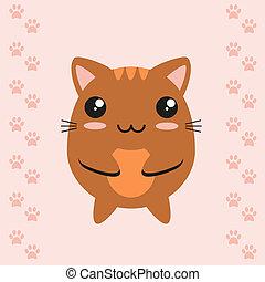 Cute kawaii kitty on footprint background, flat design.