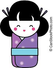 Cute kawaii kokeshi doll. Traditional japanese doll. hand...