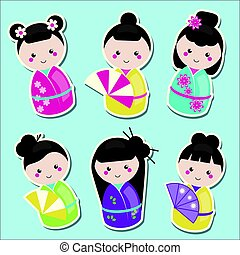 Cute kawaii kokeshi dolls stickers set. Traditional japanese dolls