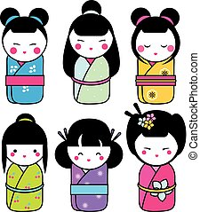 Cute kawaii kokeshi dolls stickers set. Traditional japanese dolls. hand drawn style icons