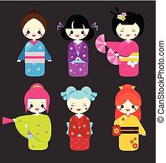 Cute kawaii kokeshi dolls. Traditional japanese dolls. Girls in kimono