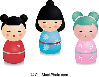 Cute kawaii kokeshi set. Traditional japanese dolls in realistic style. Stickers, design elements