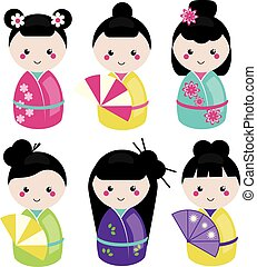 Cute kawaii kokeshi set. Traditional japanese dolls. Stickers, design elements