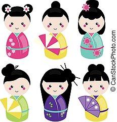 Cute kawaii kokeshi set. Traditional japanese dolls. Stickers, design elements