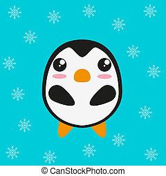 Cute kawaii penguinm flat design. Vector illustration.