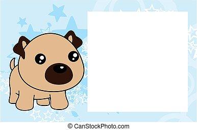 cute kawaii pug dog cartoon frame picture background