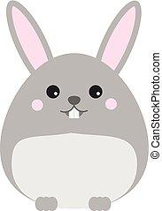 Cute kawaii rabbit, bunny, hare character. Children style, vector illustration