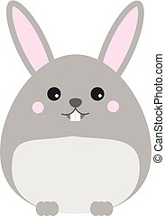 Cute kawaii rabbit, bunny, hare character. Children style,...