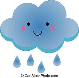 Cute kawaii rainy clowd character. Vector illustration for...
