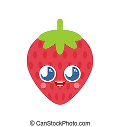 Cute kawaii strawberry isolated. funny berry cartoon style. kids character. Childrens style.