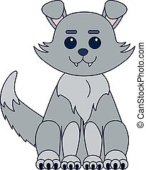 Cute kawaii style dog or grey wolf sitting cartoon