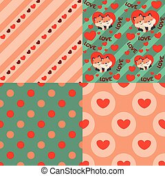 Cute Kawaii Style Fox in Heart Valentines Day Seamless Pattern Design Elements Set Vector Illustration