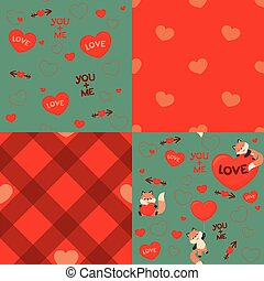 Cute Kawaii Style Fox Love Valentines Day Seamless Pattern Design Elements Set Vector Illustration