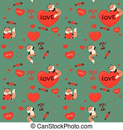 Cute Kawaii Style Fox Love Valentines Day Seamless Pattern Vector Illustration