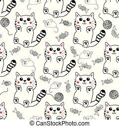 Cute kawaii style hand drawn kittens seamless pattern ...