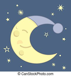 Cute Kawaii Style Sleeping Crescent Moon With Blue Night Cap and Stars Night Scene Vector Illustration