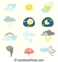 Cute Kawaii Style Weather Icons