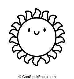 cute kawaii sun summer cartoon character thick line