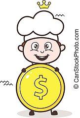 Cute Kid Cartoon Chef with Dollar Coin Vector Illustration
