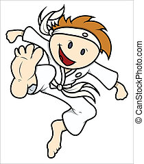 Cute Kid Doing Karate Vector - Drawing Art of Cute Cartoon...
