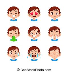 cute kid face expression emoji emoticon set