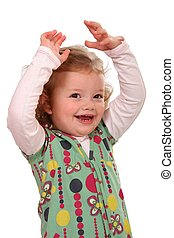Cute Kid Girl Cheering - Cute little girl with her hands up...