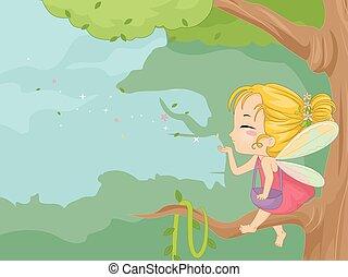 Cute Kid Girl Fairy Dust Branch