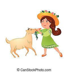 Cute kid girl in green dress with hat give carrot to goat