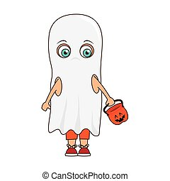 cute kid in a ghost costume