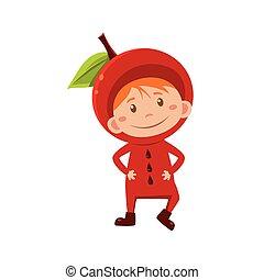 Kid In Apple Costume. Vector Illustration