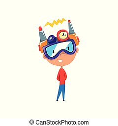 Cute kid in fantastic headdress, scientist boy character working on physics science experiment vector Illustration on a white background