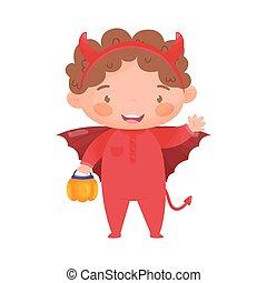Cute kid in Halloween devil costume. Vector illustration.