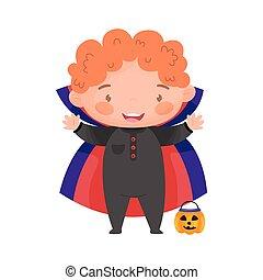 Cute kid in Halloween  dracula costume. Vector illustration.