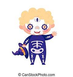 Cute kid in Halloween skeleton costume. Vector illustration.