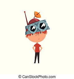 Cute kid in headdress with antenna, scientist boy character working on science experiment vector Illustration on a white background