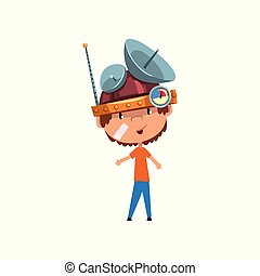 Cute kid in headdress with antennas measuring device, scientist boy character working on physics science experiment vector Illustration on a white background