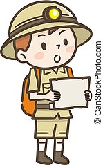Cute kid of adventurer with map