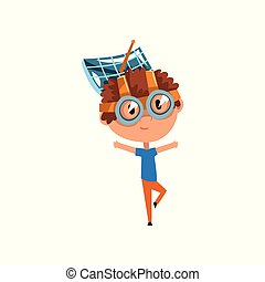 Cute kid with antenna oh his head, scientist boy character working on physics science experiment vector Illustration on a white background