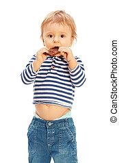 Cute kid with chocolate