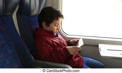 cute kid with digital tablet