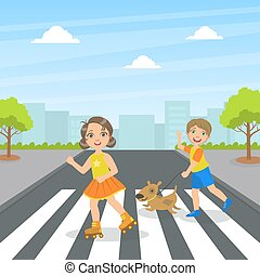 Cute Kids and Dog Using Cross Walk to Cross Street, Children Walking on the Street Vector Illustration