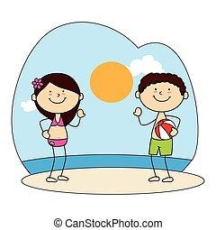 cute kids avatars character on the beach